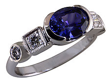 Oval Blue Sapphire and Diamond ring by Karina Mattei (Gold & Stone Ring)