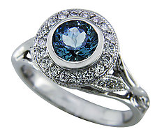 Aquamarine and Diamond White Gold Ring by Karina Mattei (Gold & Stone Ring)