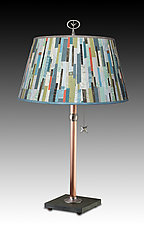 Copper Table Lamp with Large Bouillotte Shade in Papers by Janna Ugone and Justin Thomas (Mixed-Media Table Lamp)