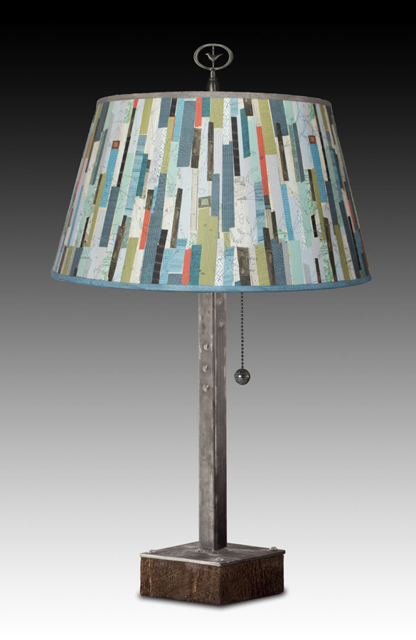 steel table lamp on wood with large bouillotte shade in papers by janna ugone and justin thomas. Black Bedroom Furniture Sets. Home Design Ideas