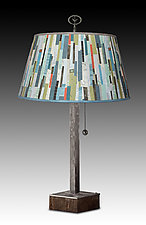 Steel Table Lamp on Wood with Large Bouillotte Shade in Papers by Janna Ugone and Justin Thomas (Mixed-Media Table Lamp)