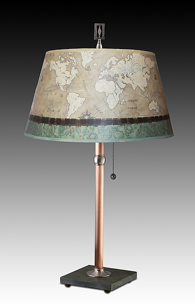 Copper Table Lamp with Large Bouillotte Shade in Sand Map
