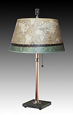 Copper Table Lamp with Large Bouillotte Shade in Sand Map by Janna Ugone and Justin Thomas (Mixed-Media Table Lamp)