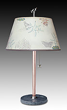 Copper Table Lamp with Small Bouillotte Shade in Ecru Journey by Janna Ugone and Justin Thomas (Mixed-Media Table Lamp)