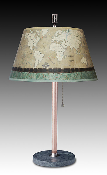 Copper Table Lamp with Small Bouillotte Shade in Sand Map