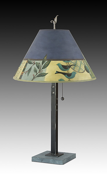 Steel Table Lamp on Marble with Medium Conical Shade in New Capri Periwinkle