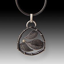3 Leaves Pendant by Susan Mahlstedt (Silver & Stone Necklace)