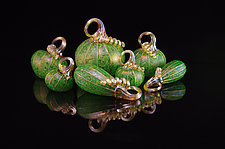 7-Piece Pumpkin Set - Green Meadows by Corey Silverman (Art Glass Sculpture)