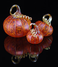 3 Piece Pumpkin Set - Tangelo by Corey Silverman (Art Glass Sculpture)