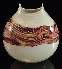 Sandstone Manta Vase in Mist & Coffee by Corey Silverman (Art Glass Vase)