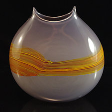 Sandstone Manta Vase in Elephant & Fire by Corey Silverman (Art Glass Vase)