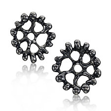 Black Lotus Earrings by Wendy McAllister (Silver Earrings)