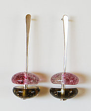 Cranberry and Brown Earrings by Carol Martin (Art Glass Earrings)