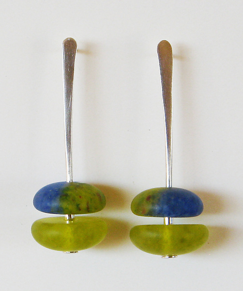 Frosted Two-Part Earrings in Chartreuse and Cobalt