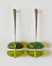 Chartreuse Earrings by Carol Martin (Art Glass Earrings)