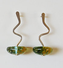 Zig Zag Earring in Pine by Carol Martin (Art Glass Earrings)