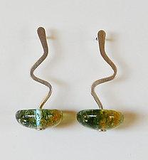 Zig Zag Earring in Pine by Carol Martin (Art Glass Earrings)