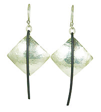 Silver And Steel Drop Earrings by Dennis Higgins (Silver & Steel Earrings)
