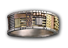 Silver and Gold Cutout Mosaic Ring by Lynda Bahr (Gold & Silver Wedding Band)