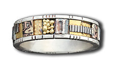Silver and Gold Narrow Mosaic Ring by Lynda Bahr (Gold & Silver Wedding Band)