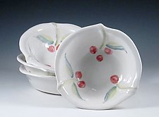 Four Hand Built Porcelain Bowls with Cherries by Carol Barclay (Ceramic Bowls)