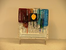 Blessing Art Plaque with Hamsa Symbol in Rainbow Colors by Alicia Kelemen (Art Glass Wall Sculpture)