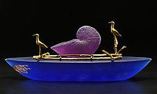Nautilus Boat by Georgia Pozycinski and Joseph Pozycinski (Art Glass & Bronze Sculpture)