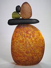 Cairn Rock Totem in Topaz by Melanie Guernsey-Leppla (Art Glass Sculpture)