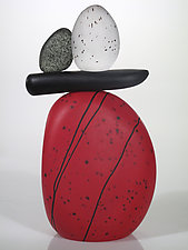 Cairn Rock Totem in Red by Melanie Guernsey-Leppla (Art Glass Sculpture)