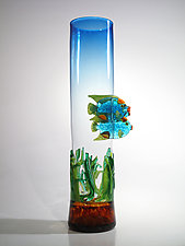 Blue Fish Vase with Sea Grass by David Leppla (Art Glass Vessel)