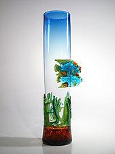 Blue Fish Vase with Sea Grass by David Leppla (Art Glass Vessel)
