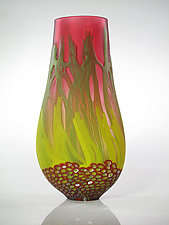 Red Sea Fan Vase by David Leppla (Art Glass Vase)