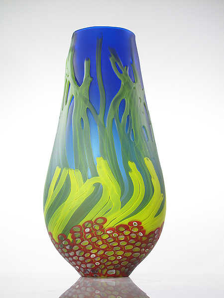 Blue Sea Fan Vase with Red Murrini