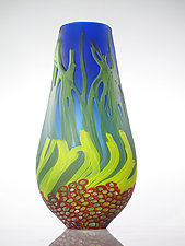 Blue Sea Fan Vase with Red Murrini by David Leppla (Art Glass Vase)