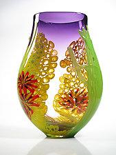 Purple Seascape Vase by David Leppla (Art Glass Vase)