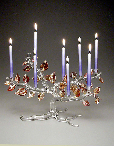 Tree of Life Menorah, Autumn Leaves