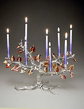 Tree of Life Menorah, Autumn Leaves by Bandhu Scott Dunham (Art Glass Menorah)