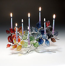 Tree of Life Menorah, Rainbow Leaves by Bandhu Scott Dunham (Art Glass Menorah)