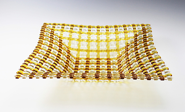 Pale Amber Crisscross Patterned Square Glass Basket