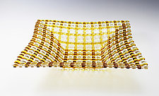 Pale Amber Crisscross Patterned Square Glass Basket by Ed Edwards (Art Glass Bowl)