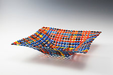 Caribbean Sunset Quilt Square Glass Basket by Ed Edwards (Art Glass Bowl)