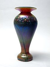 Iris Gold Art Nouveau Vase by Ken Hanson and Ingrid Hanson (Art Glass Vase)