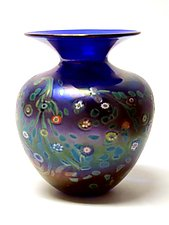 "Cobalt ""Monet"" Vase by Ken Hanson and Ingrid Hanson (Art Glass Vase)"