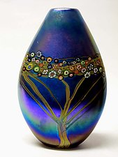 Silver Blue Vines Pouch by Ken Hanson and Ingrid Hanson (Art Glass Vase)