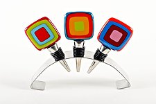 Carnival Wine Stoppers by Helen Rudy  (Art Glass Wine Stopper)