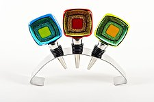 Cosmo Wine Stoppers by Helen Rudy  (Art Glass Wine Stopper)