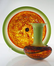 Green Safari Series by David Leppla (Art Glass Vase & Platter)