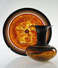 Topaz Safari Series by David Leppla (Art Glass Vase & Platter)