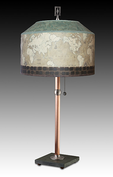 Copper Table Lamp with Medium Canopy Shade in Sand Map