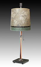 Copper Table Lamp with Medium Drum Shade in Sand Map by Janna Ugone (Mixed-Media Table Lamp)